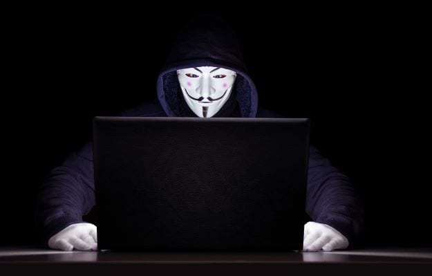 Anonymous in Front of Computer. Undercover Blogge